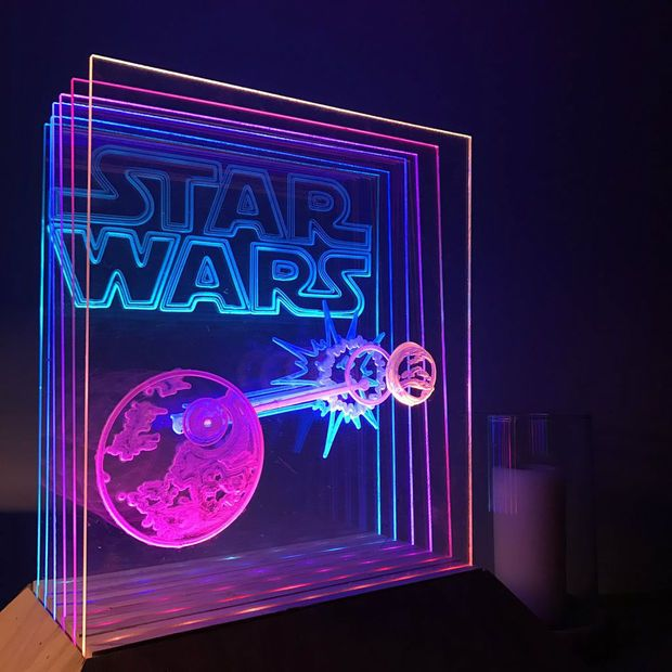 Animated Star Wars Cnc Led Lamp Arduino Controlled Led Lamp Arduino Led Projects