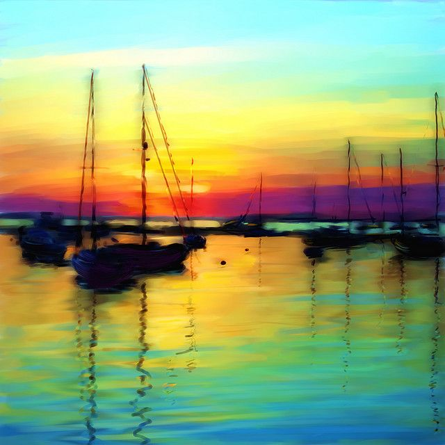 Sunset Over The Harbour Watercolor Landscape Painting