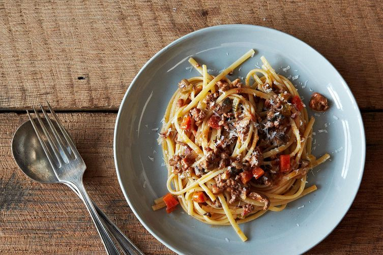 Nigel Slater S Really Good Spaghetti Bolognese Recipe On Food52 Recipe Recipes Best Spaghetti Bolognese Recipe Food 52