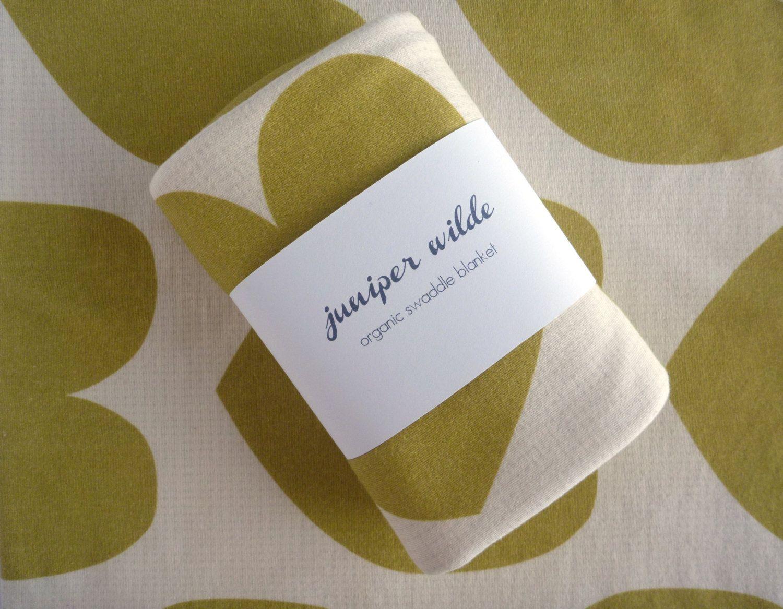 ORGANIC Baby Blanket Large Gold Hearts Jersey Swaddle -- Large. $42.00, via Etsy.