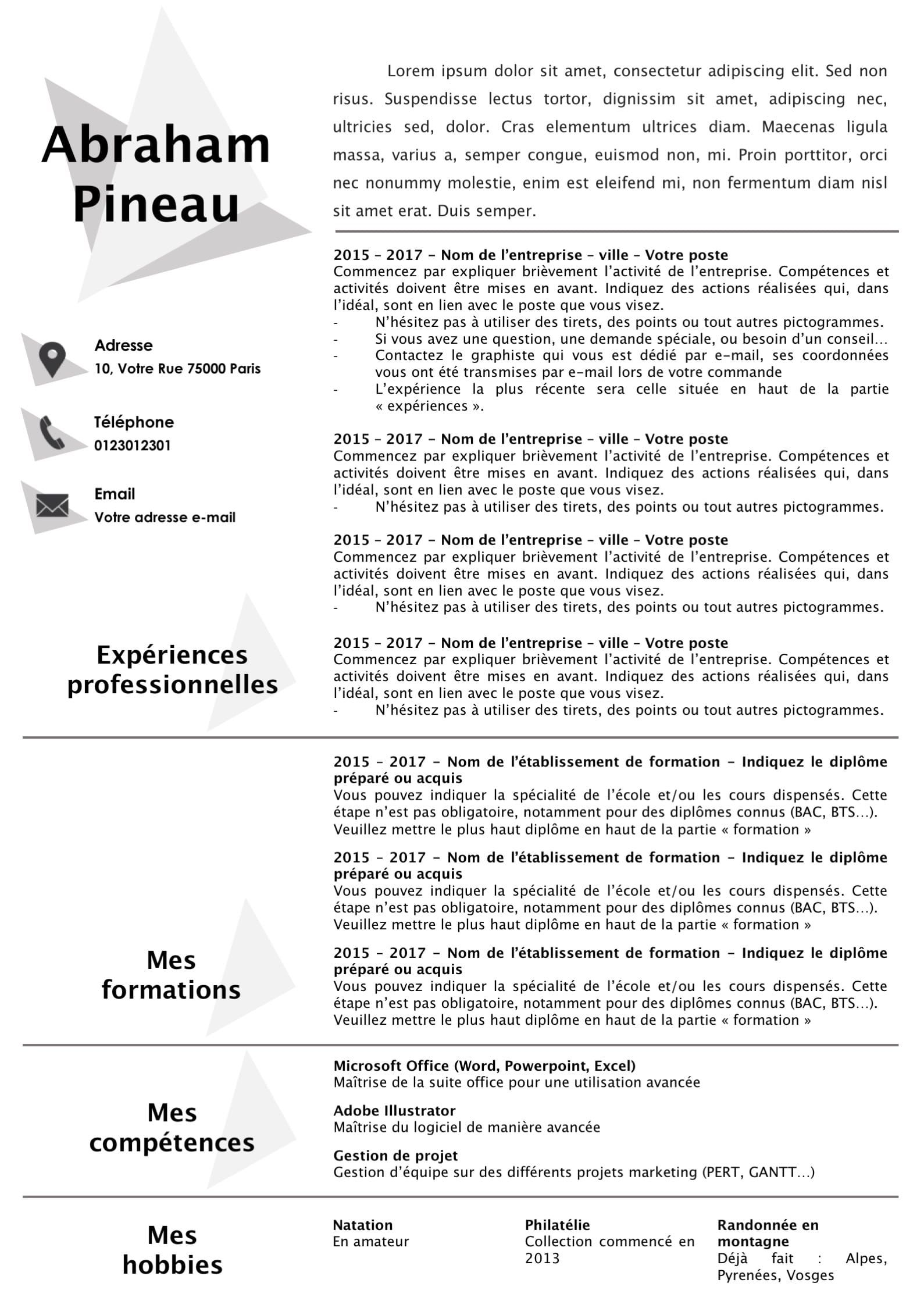 Modele Cv Et Lettre De Motivation Gris Et Epure Modifiable Pour 6 99 Modele De Cv Design Lettre De Motivation Modele Cv