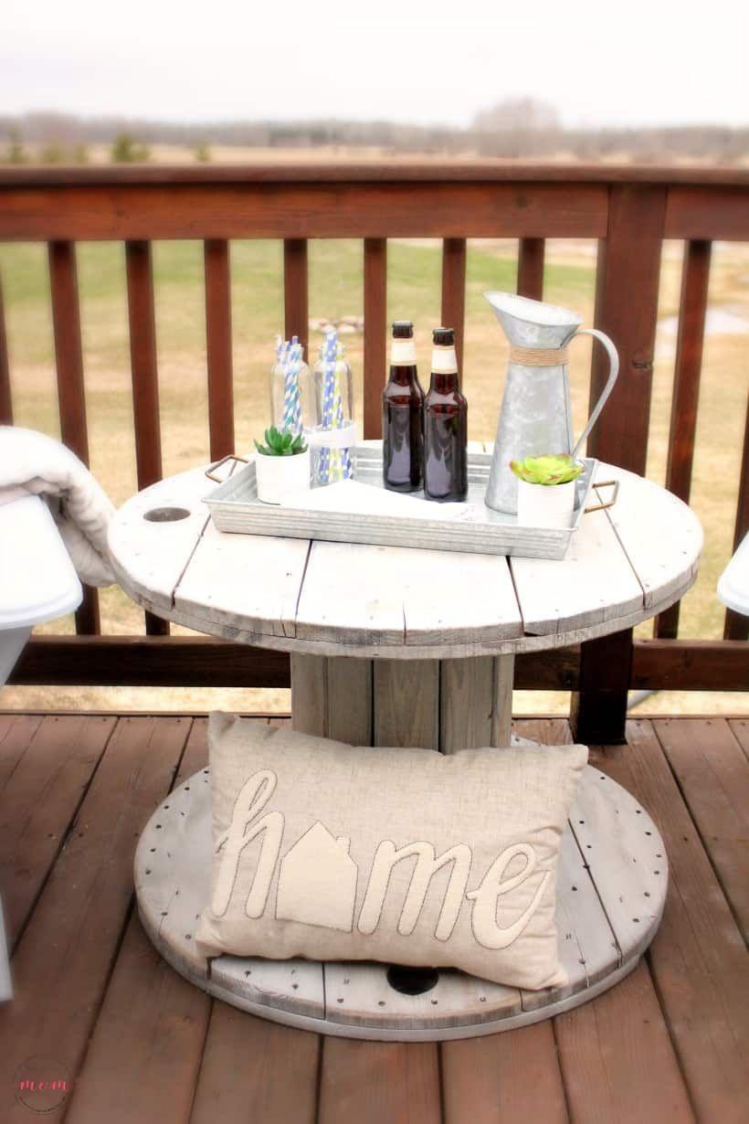 DIY Farmhouse Style Wood Spool Side Table