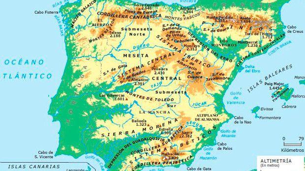 Mapa Rios España Interactivo.Altimetria Espana Mapa Fisico De Espana Mapa De Espana