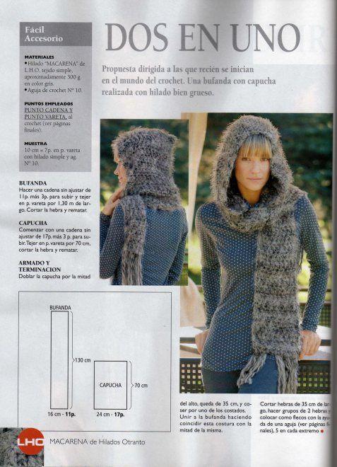 Bufanda con Capucha | Crochet | Pinterest | Bufanda con capucha ...