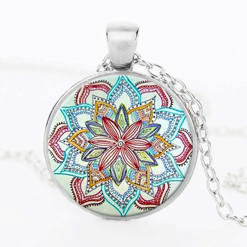NEW Crystal Flower Mandala Glass Pendant Necklace