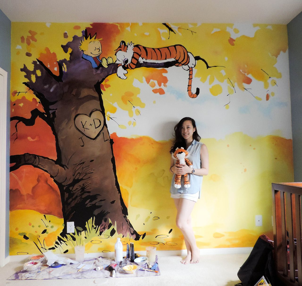 Calvin and Hobbes nursery mural I was commissioned to paint. Someone ...