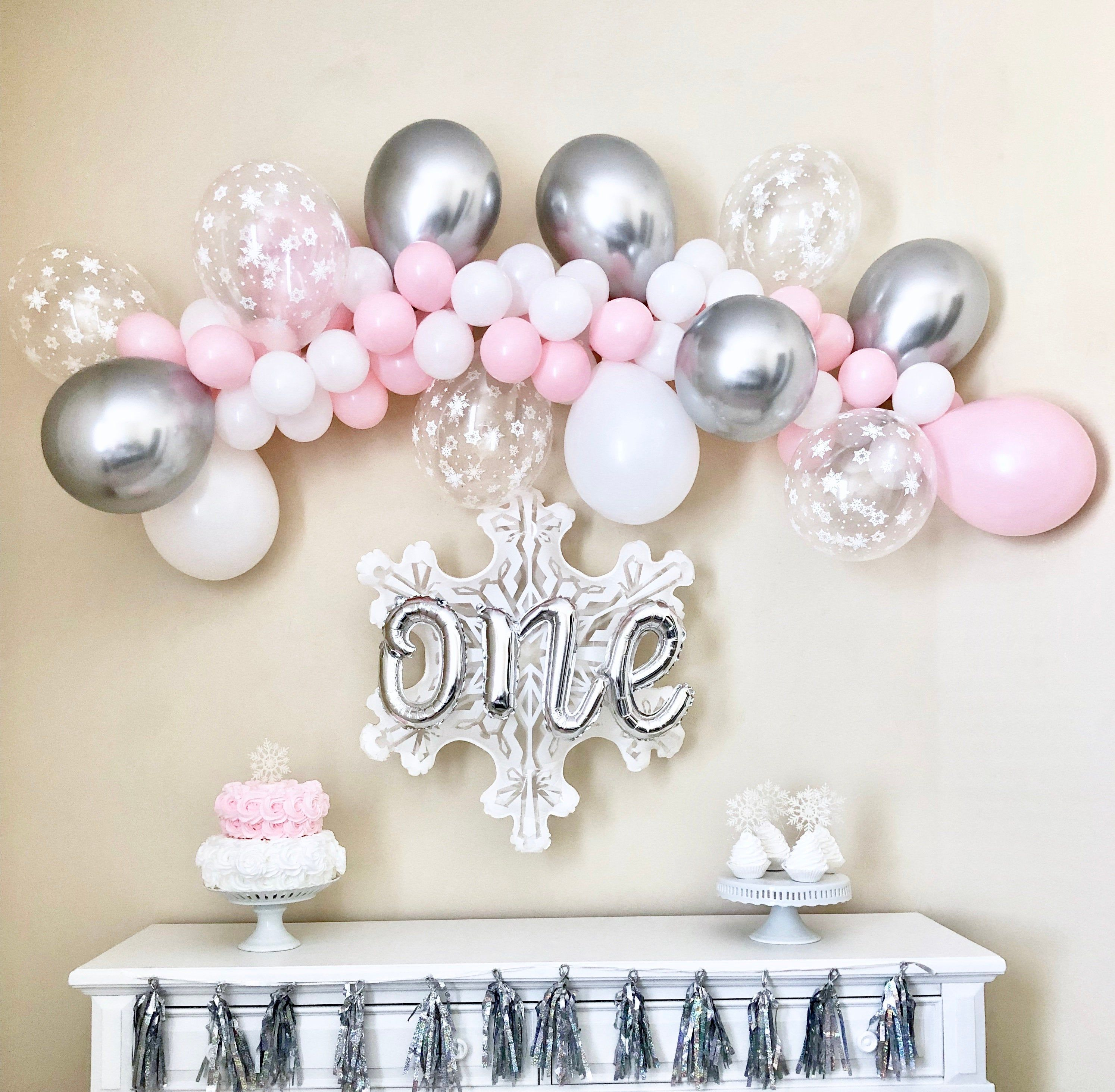 Snowflake Balloon Garland Diy Kit Pink Silver And Snowflakes Etsy Winter Onederland Party Girl 1st Birthdays Winter Onederland Party Girl Winter Onederland Birthday Party