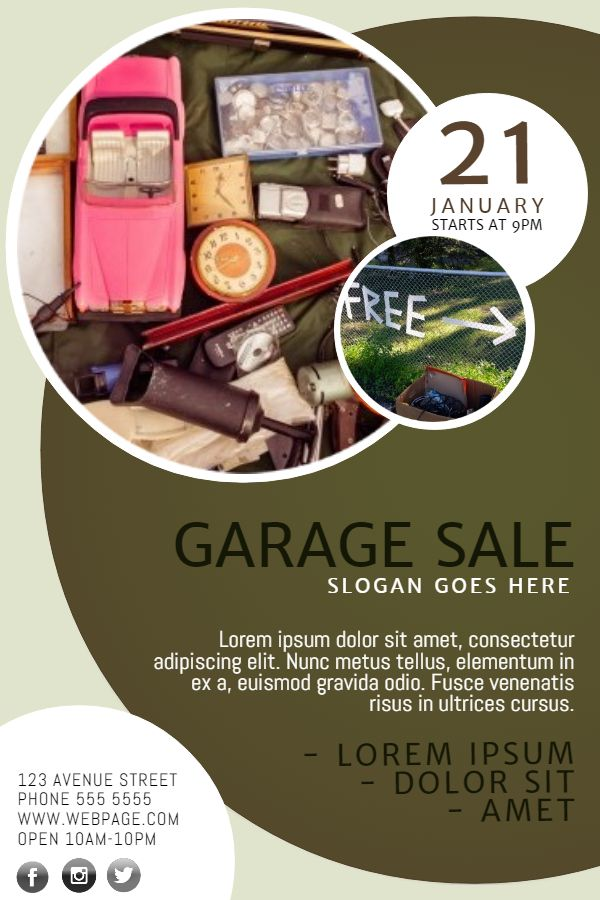 Garage Sale flyer poster social media post template. | Garage Sale ...