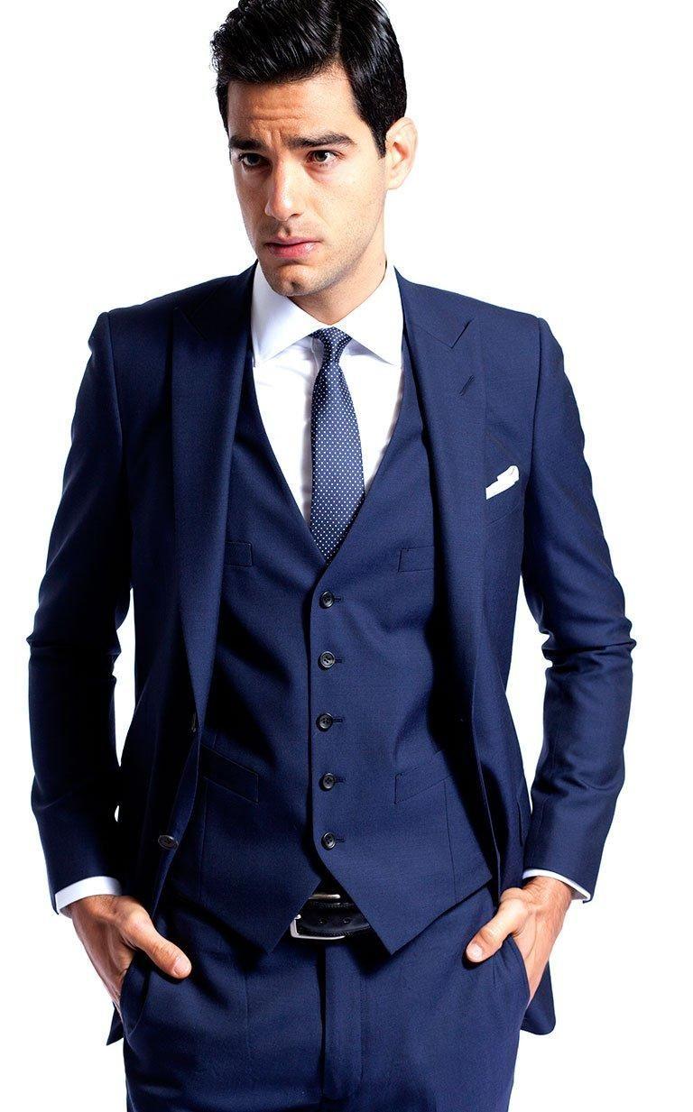 Custom made groom tuxedo blue groomsmen peak lapel weddingdinner