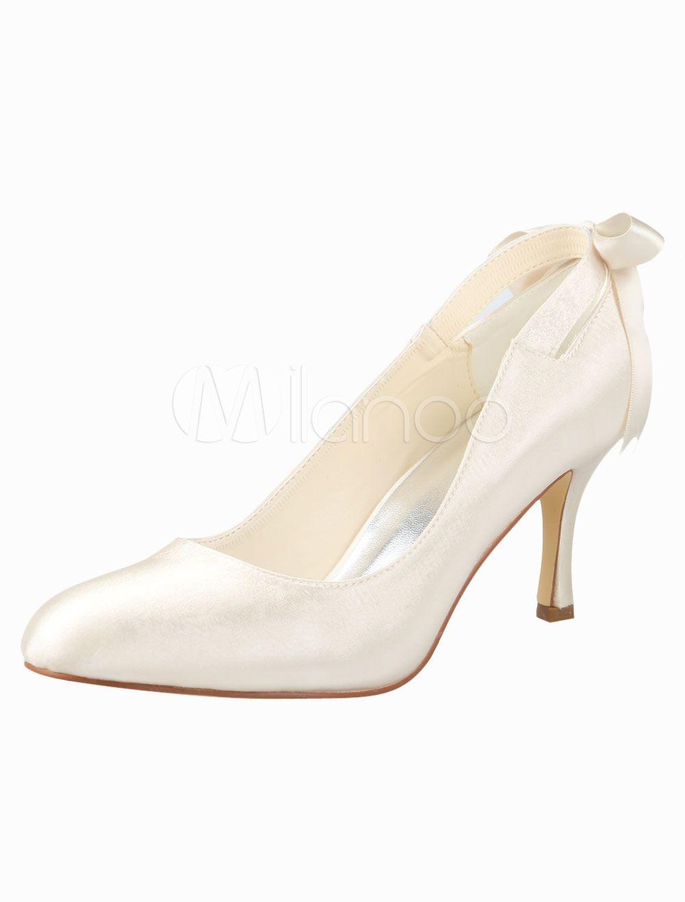 3 1/2'' High Heel Champagne Bow Satin Wedding Pump Shoes - Milanoo.com $47.99