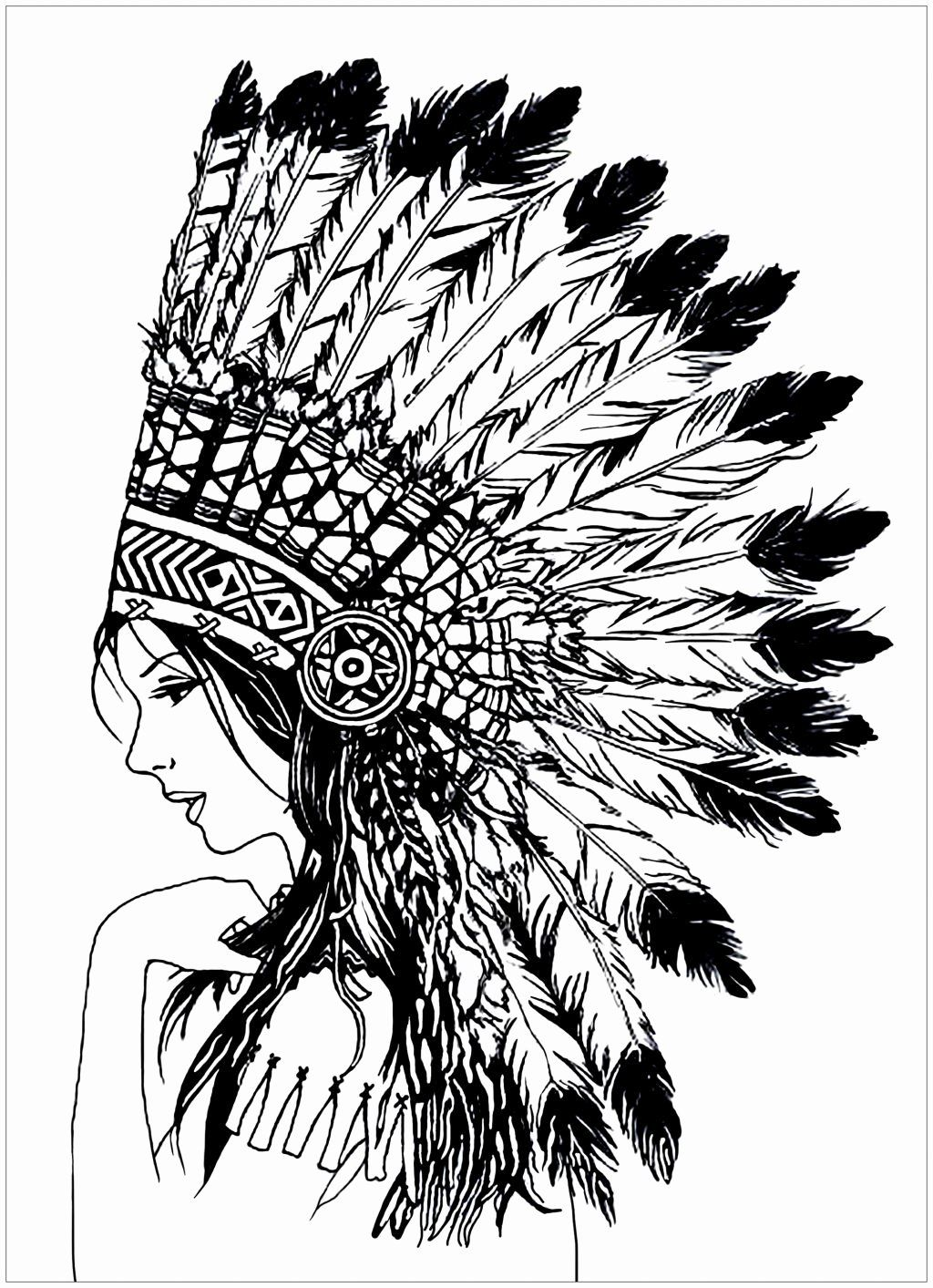 Disney Brave Coloring Page Native American Headdress Native
