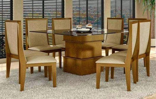 Conjunto de mesa e 8 Cadeiras Simone Plus Amêndoa D6 Móveis, por R$ 2799,00