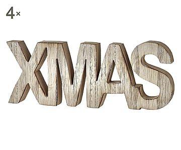 Set di 4 elementi decorativi da appoggio in legno Xmas - 25x10x2 cm