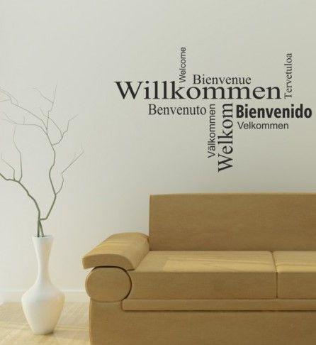 Wandtatto, Wandsticker, Wandaufkleber Zitate  Sprüche - Willkommen - wandtattoo fürs schlafzimmer