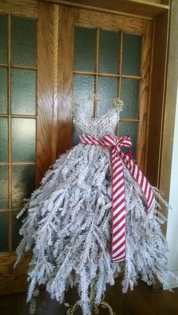 diy tutorial traditional style dress form christmas tree on wire frame with real pine branches