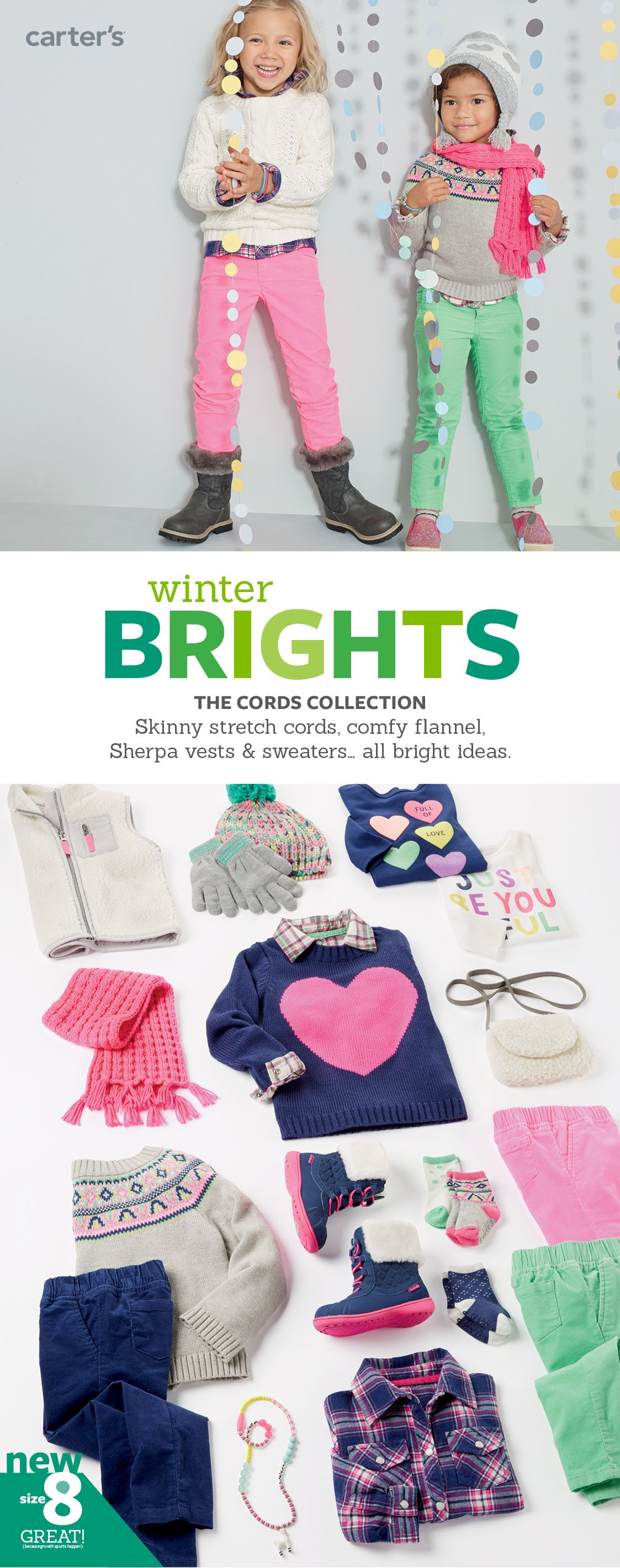 Brighten up! Stretchy cords, fun sweaters + cozy fleece for easy winter style.