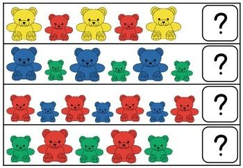 Counting Bear Family Pattern Cards Counting Bears Bears Preschool Card Patterns