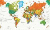 MAPA ŚWIATA - fototapeta   World Map Murale