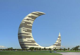 Prédio em forma de lua crescente representa as origens e o futuro de Dubai