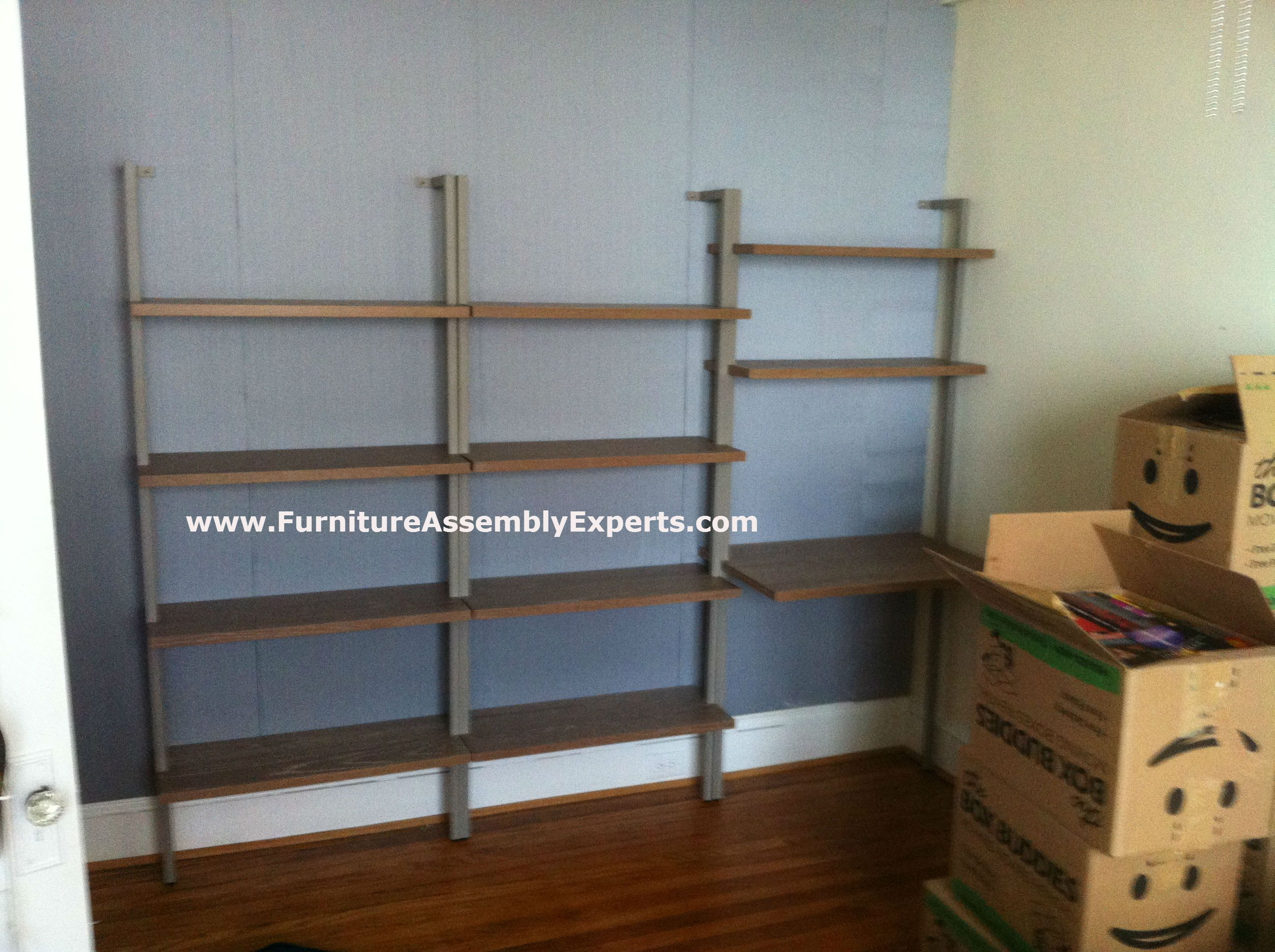 Cb2 Helix Taupe Bookcase And Desk Assembled In Washington DC By Furniture  Assembly Experts LLC