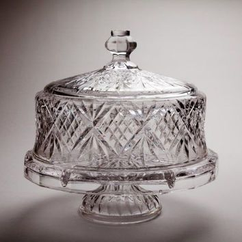 Clear Footed New Cake Saver Plate Stand Vintage Glass Pedestal Dome Covered Lid Cake Plate With Dome Vintage Cake Plates Cake Plates