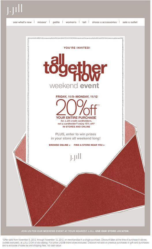 photo about Jjill Printable Coupon named JJill #Coupon 20% off your full obtain towards 11/9-11/12