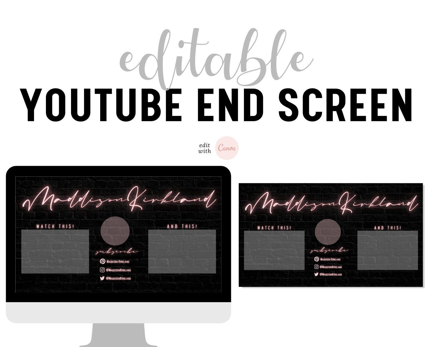 Youtube End Screen Youtube End Card Outro For Youtube Etsy In 2021 Media Kit Template Youtube Templates