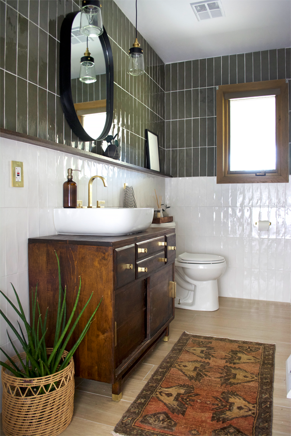 Green And White Color Block Tile Bathroom Brepurposed Bathroom Interior Home Remodeling Bathroom Inspiration