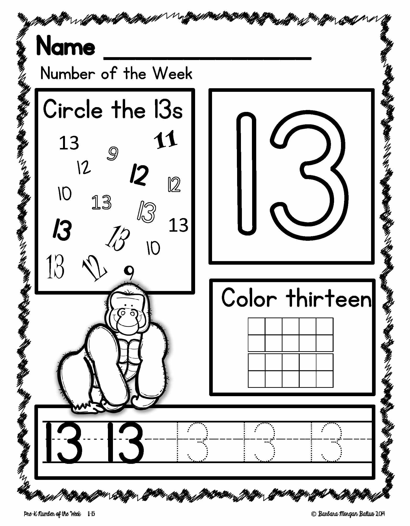 10 Zoo Animals Number Sequence 15 Preschool Math Bw Picture