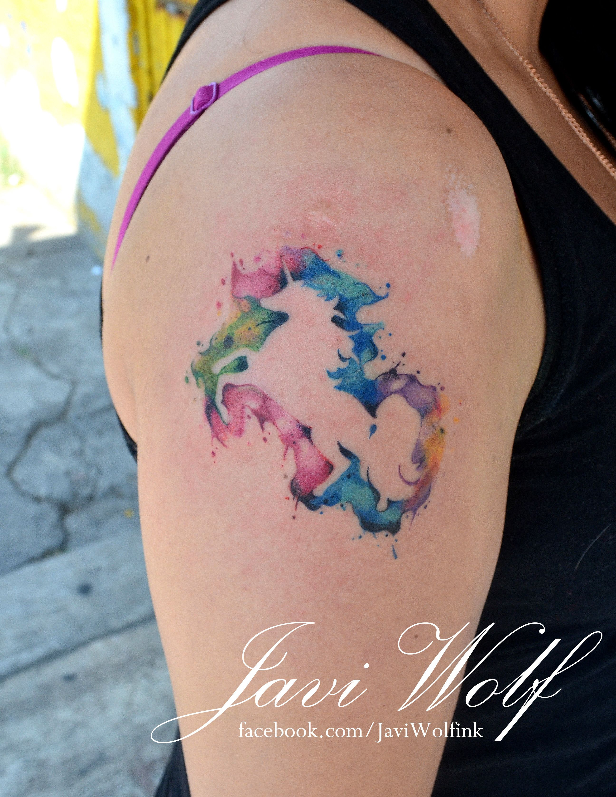 Watercolor Unicorn.  Tattooed by @Javi Wolf