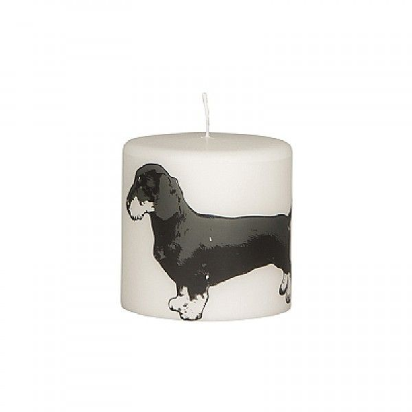 'DOG' small pure white parchment pillar candle with black dachshund design by Broste, Copenhagen
