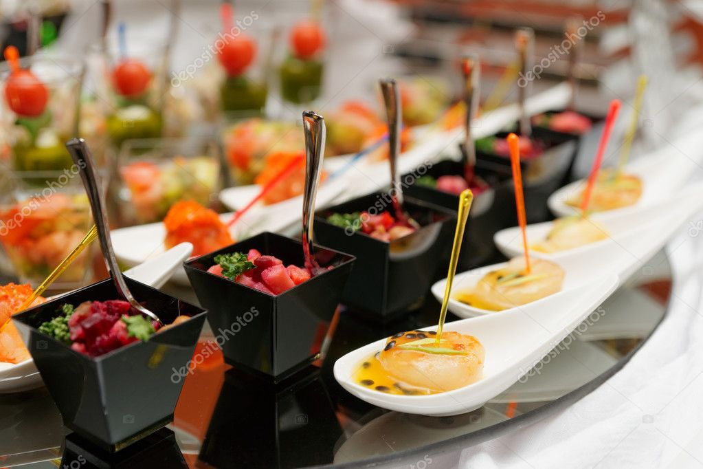 Various Snacks On Table Stock Photo Aff Table Snacks Photo Stock Ad With Images Wedding Food Menu Food Reception Food