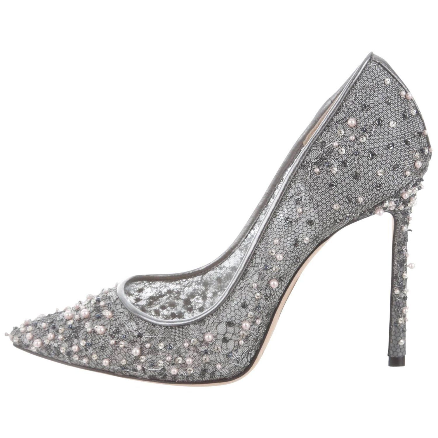 preview of great quality details for Jimmy Choo New Sold Out Silver Pearl High Heels Pumps in Box ...