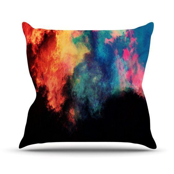 "Caleb Troy ""Rainbow Black"" Outdoor Throw Pillow"