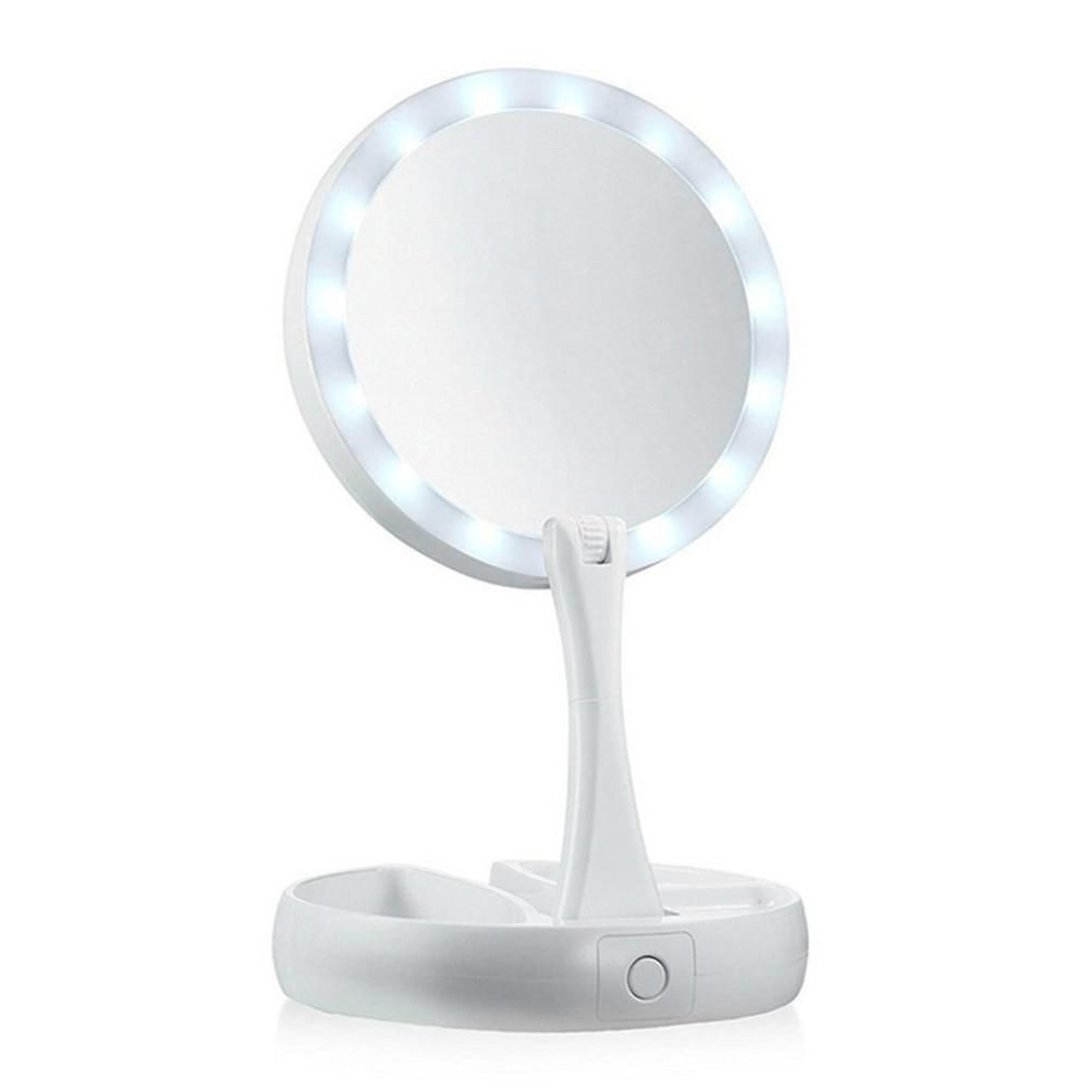 Portable Led Travel Folding Compact Mirror With Light Touch Screen