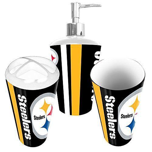 Beau Pittsburgh Steelers NFL Bath Tumbler, Toothbrush Holder Soap Pump (3pc Set)  Http: