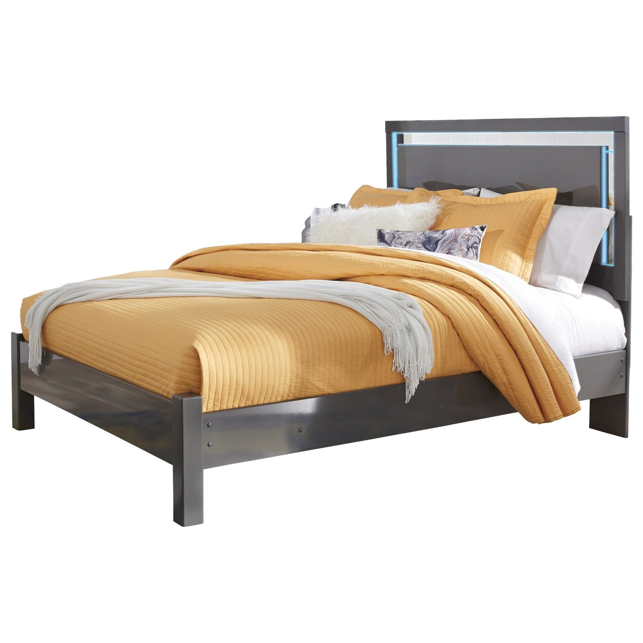 Steelson Contemporary Queen Panel Bed With LED Lighting In