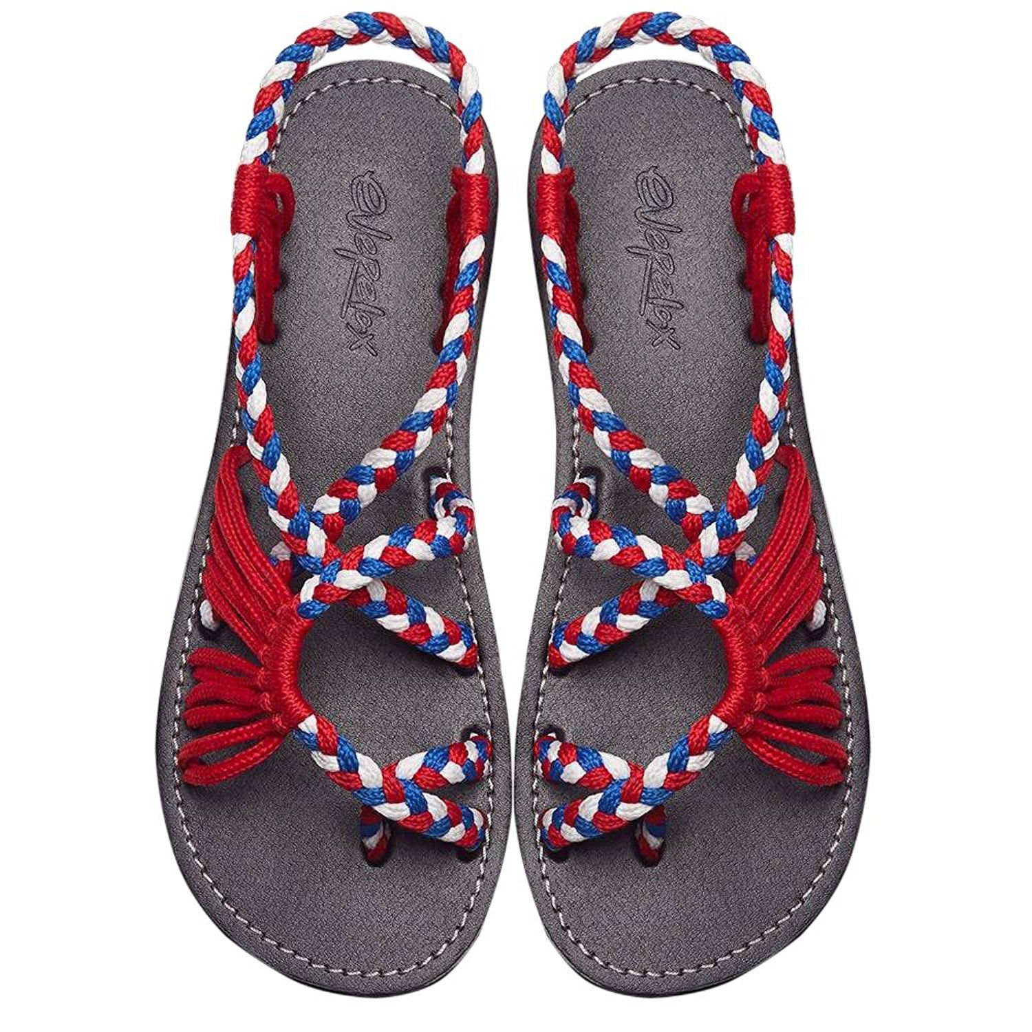 Amazon.com   Summer Braided Rope Flat Sandals Casual Vacation Beach Shoes  For Women Teenagers Girls By Everelax   Flats