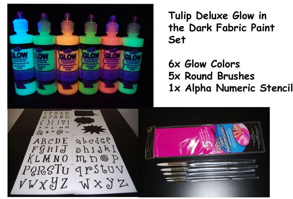 Tulip 4oz Deluxe Glow in the Dark Fabric Paint Combo Set #Tulip