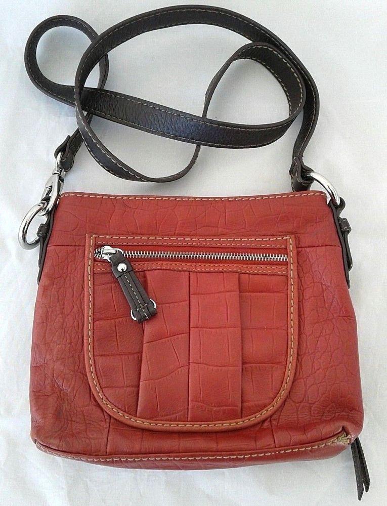 ce95d8dfc90 Clark's Leather Crossbody Bag Purse Messenger Brick Red Animal Embossed # Clarks #Crossbody #pursesthatgoaroundyourwaist