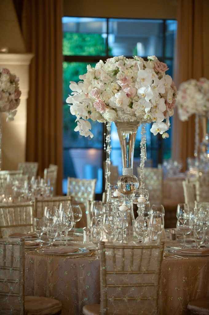 Beautiful Centerpiece Crystal And White Wedding Ideas Orchid