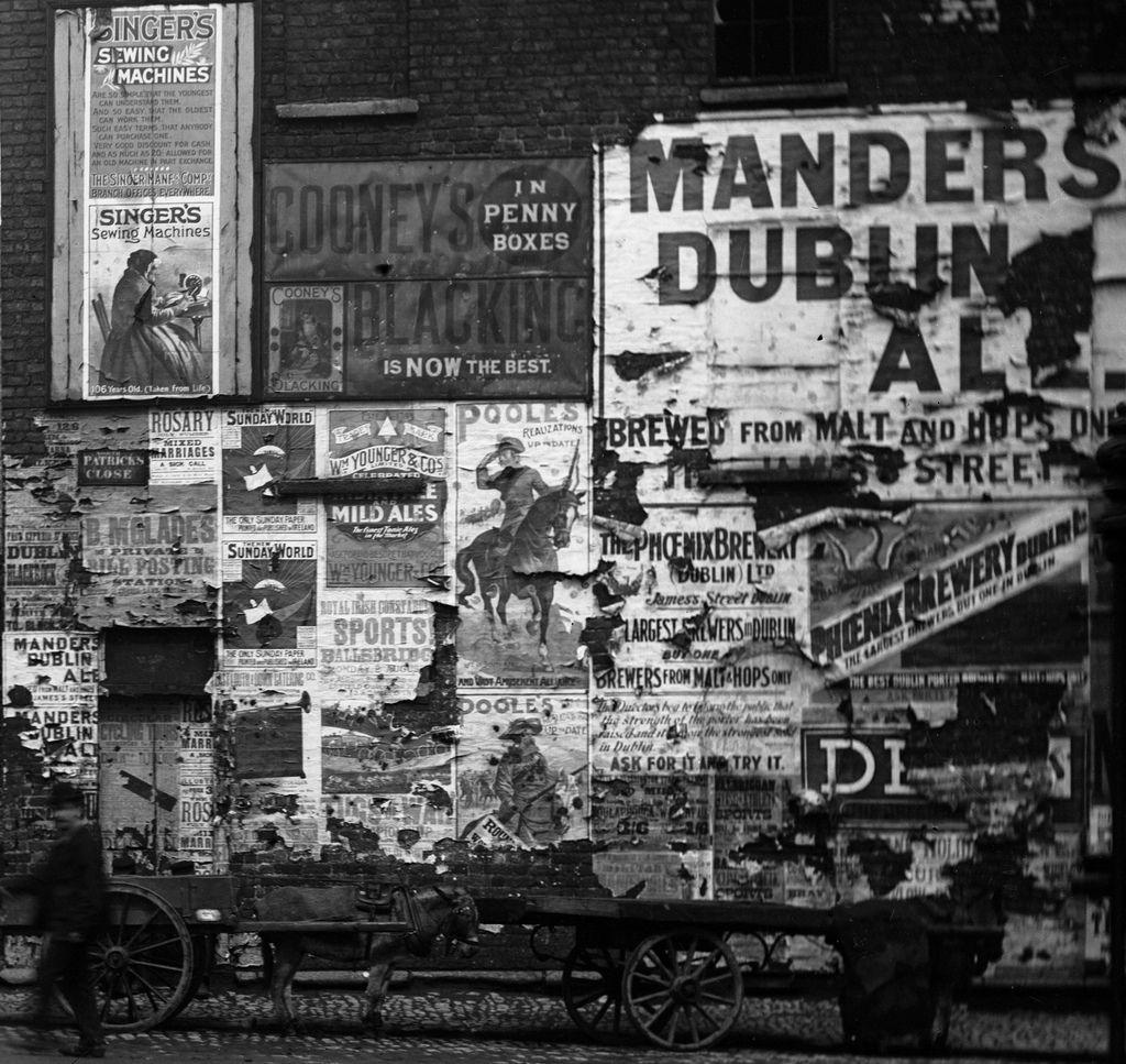 Advertising posters. Patrick Street, Dublin. 1898 | Dublin ...