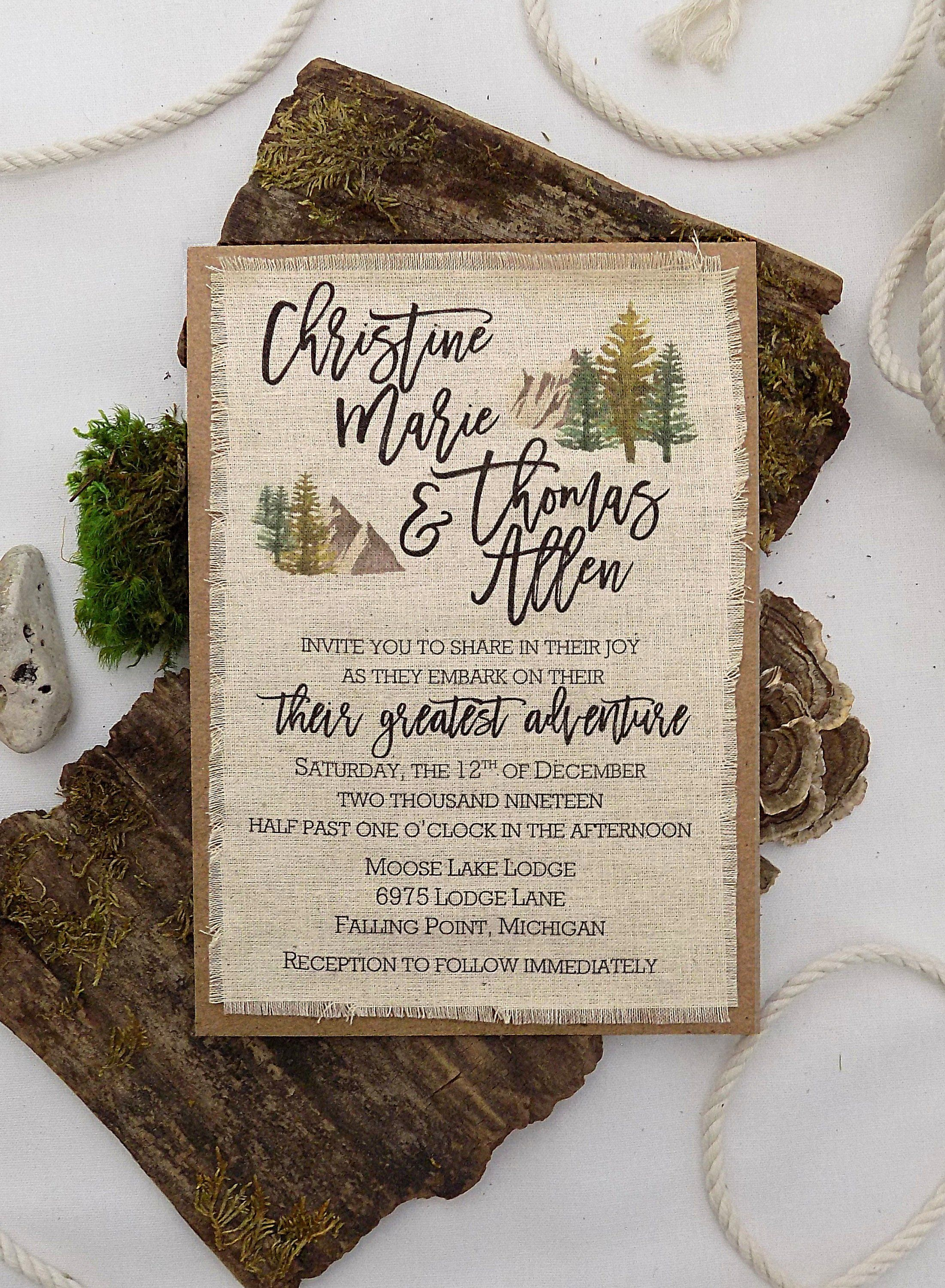 rustic forest nature adventure wedding invitation trees