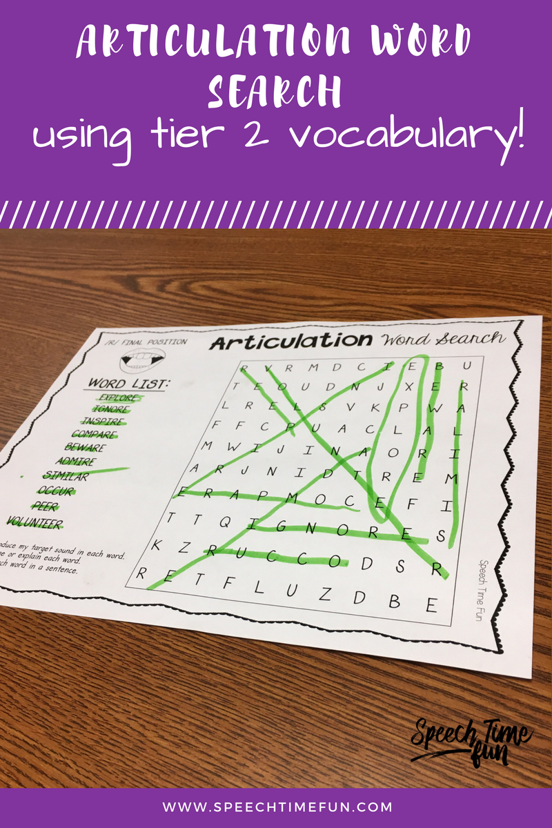 articulation word search using tier 2 vocabulary words. perfect for mixed speech and language groups