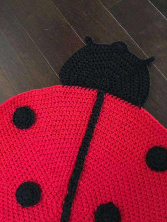 CROCHET LADYBUG RUG, ladybug rug, crochet rug, handmade crochet rug ...