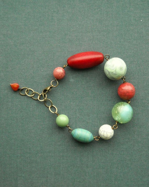 rose city bracelet  vintage lucite and brass by urbanlegend, $36.00