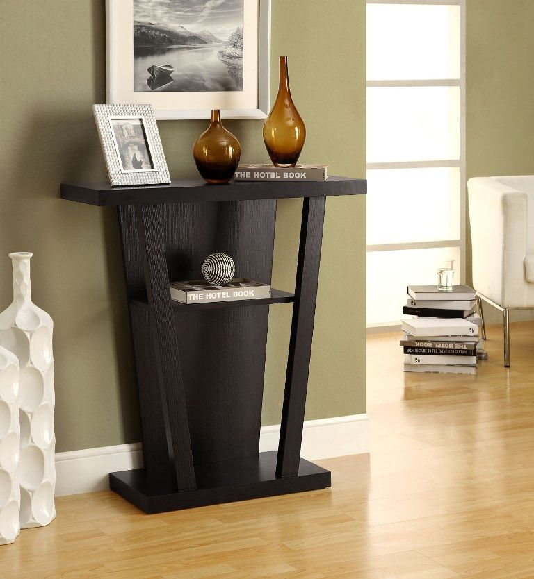 cappuccino 32 l hall console accent table monarch on small entryway console table decor ideas make a statement with your home s entryway id=61531