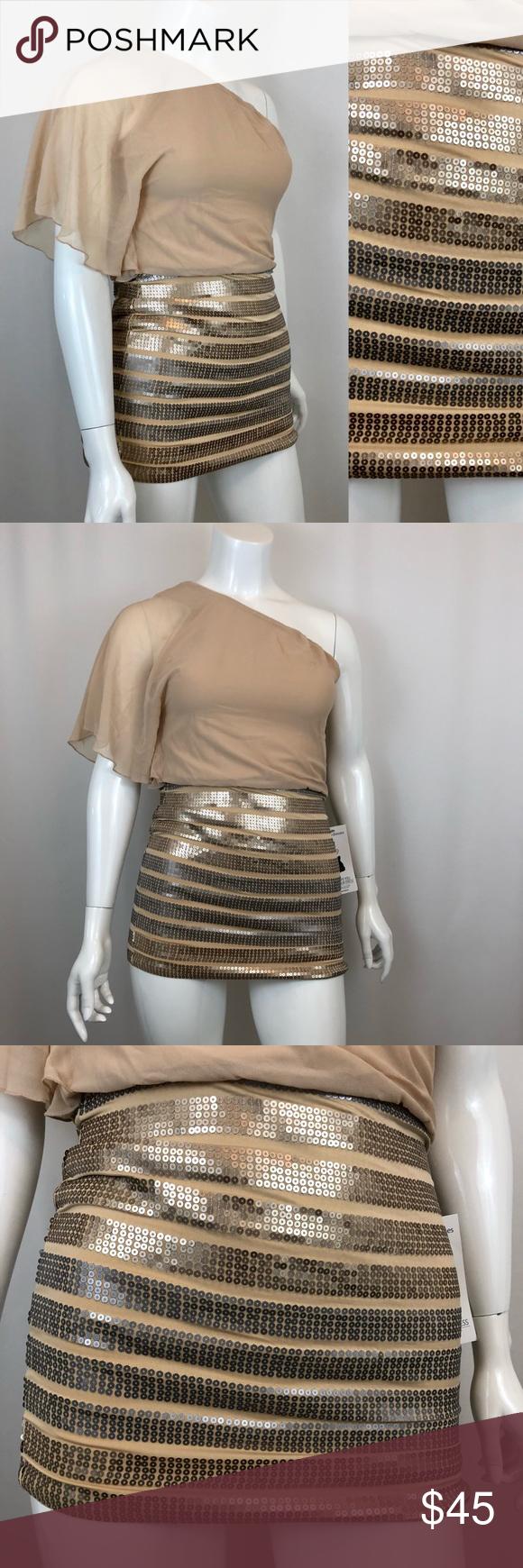 5b5055da2b4 AS U WISH Sequin One Shoulder Dress NWT As U Wish Size  Medium Material   Self  100% Polyester
