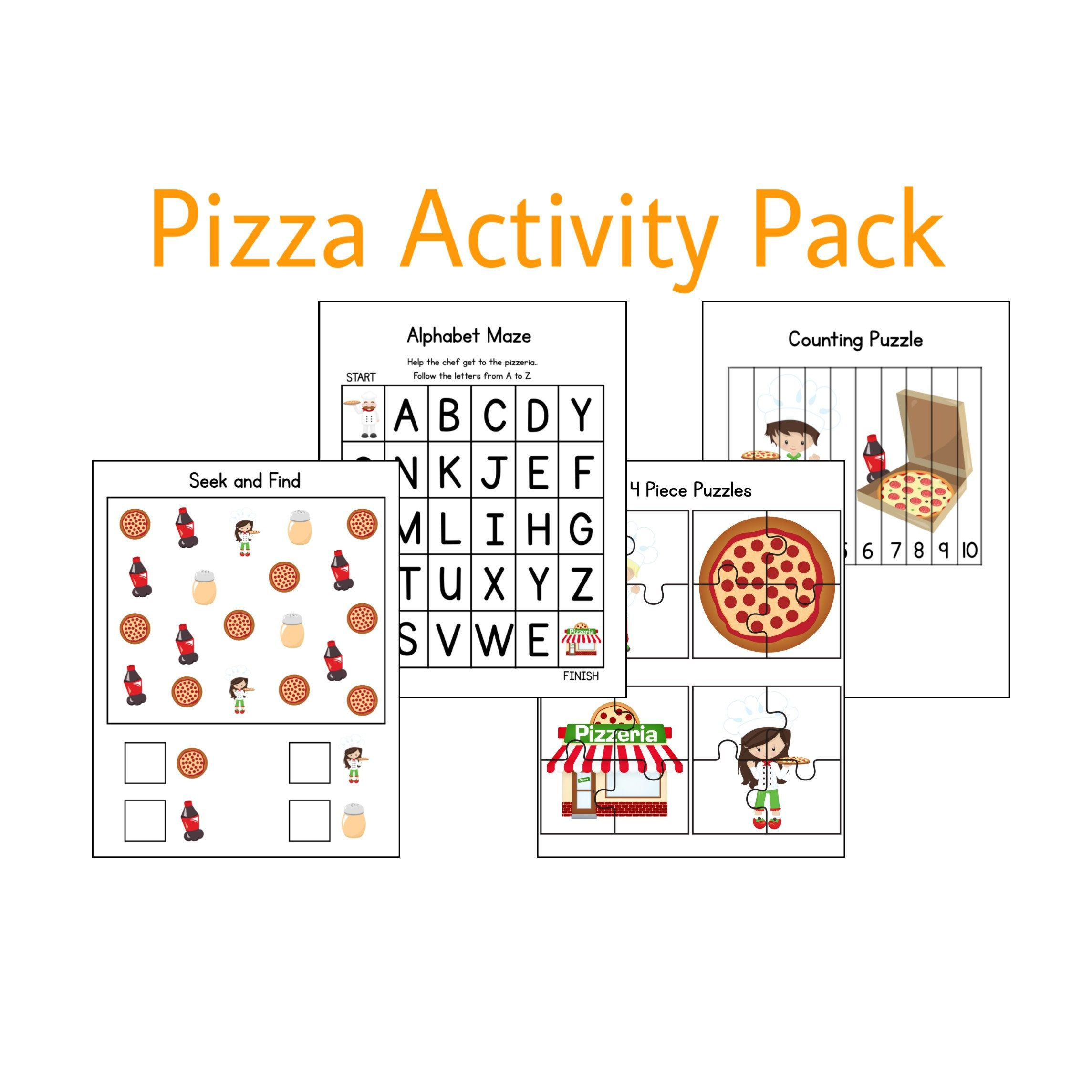Pizza Activities Learning Games Printable Worksheets