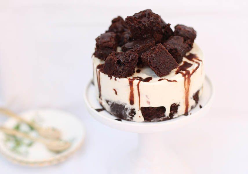 Vanilla Ice Cream Cake with Luscious Brownies and Chocolate Fudge Sauce - KokiDoo
